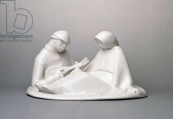 Russian couple, 1908, by the sculptor Erns Barlach (1870-1938), white porcelain, made by Schwarzburger Werkstatten for Porzellankunst. Germany, 20th century.