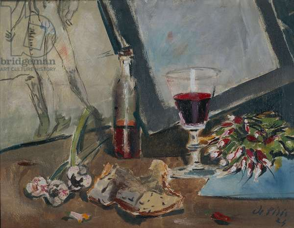 Still life with nude and red wine, 1924, by Filippo de Pisis (1896-1956), oil on canvas. Italy, 20th century.
