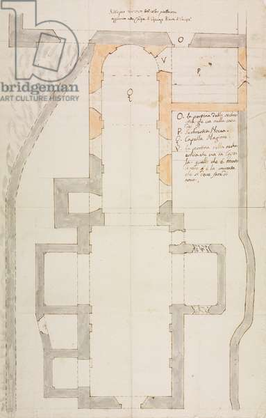 Design for expansion of church of Casciago, parish of Varese, plan, Italy, 18th century