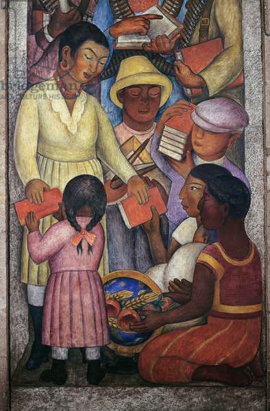 Literacy, by Diego Rivera (1886-1957), detail from the Ministry of Education frescoes (1923-1928), Mexico City. Mexico, 20th century.