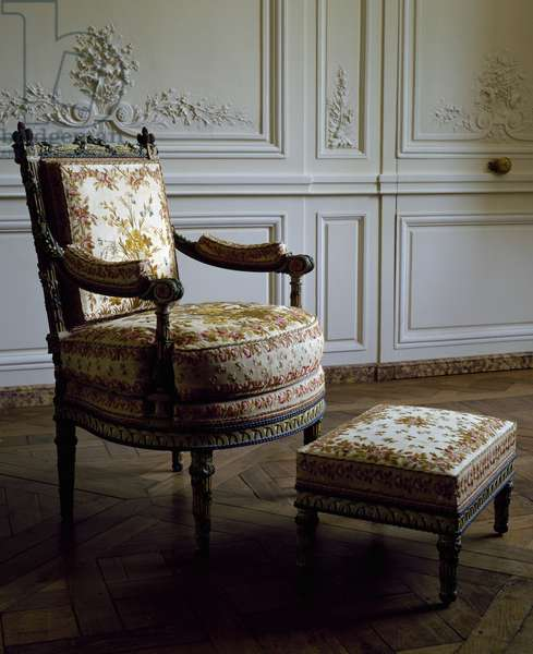 Louis XVI style armchair and footstool, Queen's sitting room, Petit Trianon, Palace of Versailles, Ile de France, France, 18th century