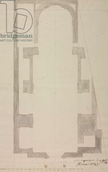 Design for expansion of parish church of Perego, parish of Missaglia, April 6, 1767, Cardinal Giuseppe Pozzobonelli, plan, Italy, 18th century