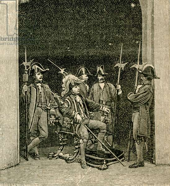 Alabardieri, armed guards of Monza cathedral, Monza, Lombardy, Italy, woodcut from Le cento citta d'Italia (Hundred Italian towns), illustrated monthly Supplement of Il Secolo, Milan, October 25, 1891, year 26