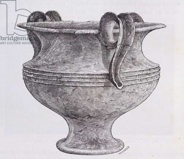 Large vase in alabaster unearthed during the excavations in Mycenae, by Heinrich Schliemann (1822-1890), engraving from the book Mycenae, 1878. Greece, 19th Century.