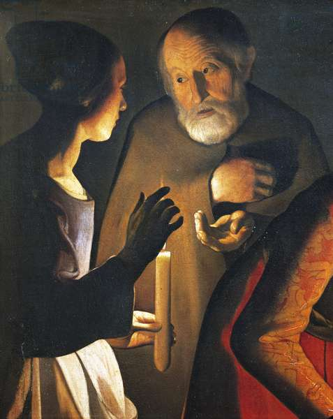 The denial of St Peter, 1650, by Georges de La Tour (1593-1652).
