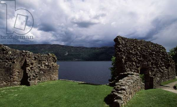 View of Urquhart Castle with Loch Ness in the background, near Drumnadrochit, Inverness-shire. Scotland.