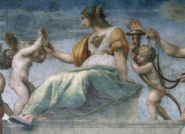 Allegory of Prudence and putti, detail from the Cardinal Virtues (1508-1511), by Raphael (1483-1520), fresco, Room of the Signatura, the Vatican Museums, Vatican City