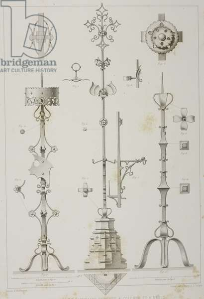 Fittings and candlesticks for funeral lighting in Cologne and Neuss, Germany, from L'Architecture du V au XVI siecle et les Arts qui en dependent, 1853-1857, by Jules Gailhabaud (1810-1888)