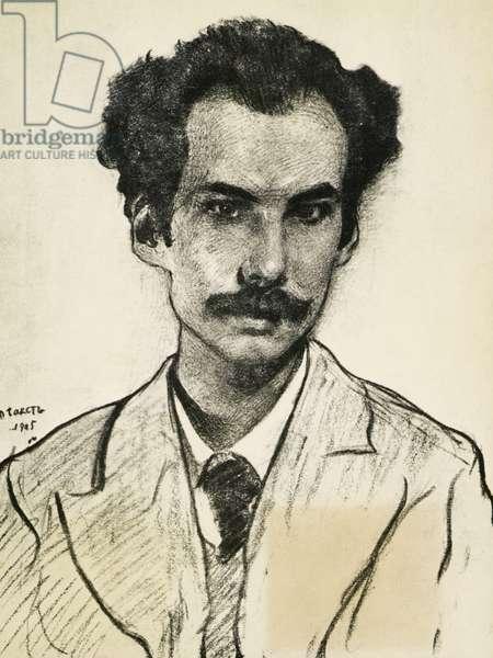 Portrait of Boris Nikolaevich Bugaev (1880-1934), Russian writer, by Leon Bakst (1866-1924), Drawing, 1905
