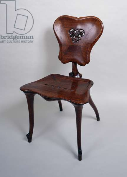 Wooden chair with marquetry on the back, Art nouveau style (modernism). Spain, 20th century.