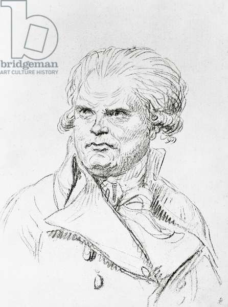 Portrait of Georges-Jacques Danton (1759-1794), French politician, drawing by Jacques-Louis David (1748-1825)