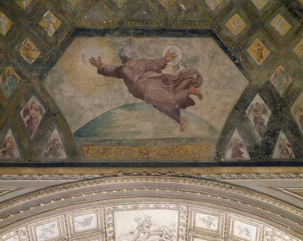 Creation of the sun and moon, 1518-1519, workshop of Raphael (1483-1520), fresco, Raphael Loggias, Apostolic Palace, Vatican City