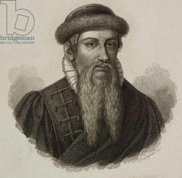 Portrait of Johannes Gutenberg (1394/1399 ca-1468), German goldsmith, inventor and printer, engraving by Guadagnini