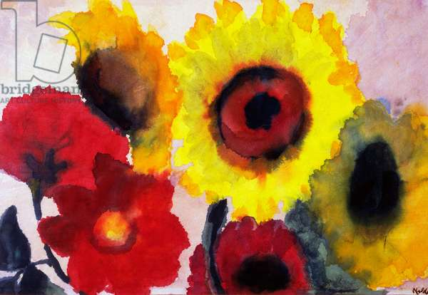 Summer flowers, undated, by Emil Nolde (1867-1956), watercolour, 29x42 cm. Germany, 20th century.
