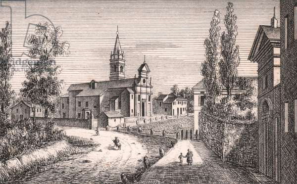 View of Church of Saint Lawrence, Casumaro, Cento, Emilia-Romagna, Italy, lithograph, ca 13x17 cm