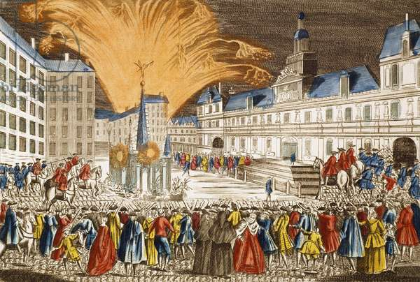 Fireworks, June 1763, outside Paris City hall to mark the proclamation of peace, engraving by Chereaux. France, 18th century.