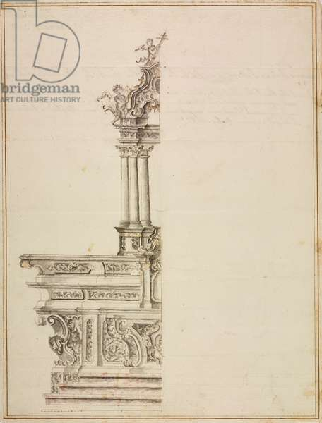 Design for altar in parish church of Saints Peter and Paul, Clivio, parish of Arcisate, October 1, 1756, Cardinal Giuseppe Pozzobonelli, elevation drawing, Italy, 18th century