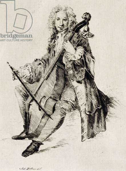Cello player, by Jean Antoine Watteau (1684-1721), engraving, France, 18th century