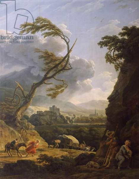 Midi sur terre, coup de vent by Emile-Jean-Horace Vernet (1789-1863)