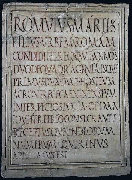 Memorial stone bearing inscription about Romulus Martis filius Romulus, from Pompeii, Campania, Italy, Roman Civilization