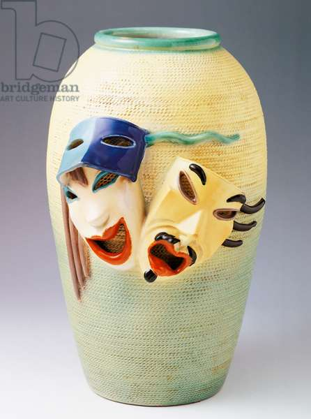 Ovoid vase with two masks applied, 1930s, by Ivos Pacino Pacetti (1901-1970), glazed ceramic, height 39.5 cm, made by La Fiamma, Albisola. Italy, 20th century