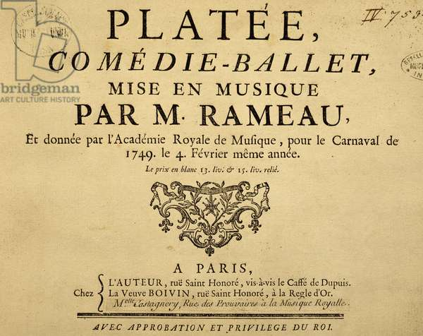 Title page of Platee (Plataea), lyric opera, by Jean-Philippe Rameau (1683-1764), 1749