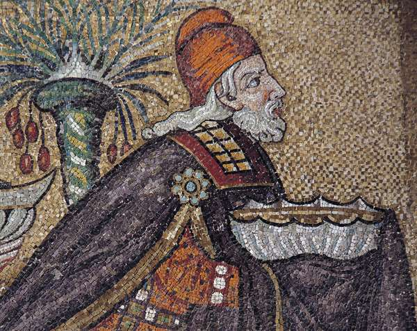 Gaspar, detail from the Magi Kings being guided by a star, mosaic, north wall, lower level, Basilica of Sant'Apollinare Nuovo (UNESCO World Heritage List, 1996), Ravenna, Emilia-Romagna. Italy, 6th century.