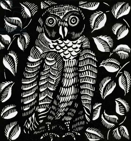 Owl, for the poem Le hibou, from Le Bestiaire ou Cortege d'Orphee by Guillaume Apollinaire (woodcut)