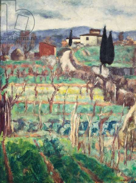 Fields and hills, 1925, by Ardengo Soffici (1879-1964), oil on canvas, 61x47 cm. Italy, 20th century.