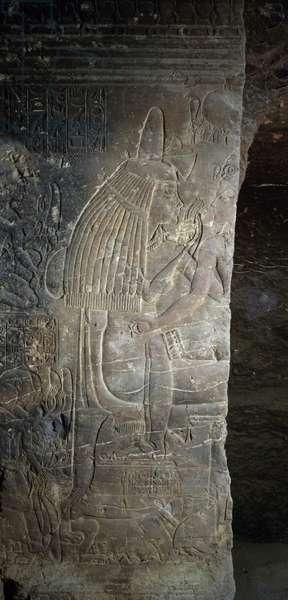 Tutankhamun with his wet nurse Maia, relief, Tomb of Maia, Saqqara, dating from reign of Tutankhamun. Egyptian Civilisation, New Kingdom, Dynasty XVIII