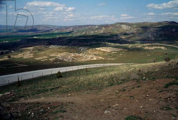 View of area of Great Temple, Hattusa (Bogazkoy), capital of Hittite empire (Unesco World Heritage List, 1986), Bogazkale, Turkey, Hittite civilization, 13th century BC