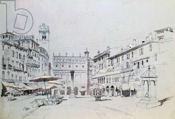 Piazza delle Erbe in Verona (Italy), 1841, watercolor by John Ruskin (1819-1900)