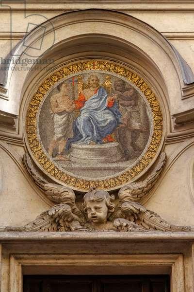 Medallion above cloister door on via del Quirinale, church of San Carlo alle Quattro Fontane (Saint Charles at Four Fountains), architect Francesco Borromini (1599-1667), Rome, Italy, 17th century