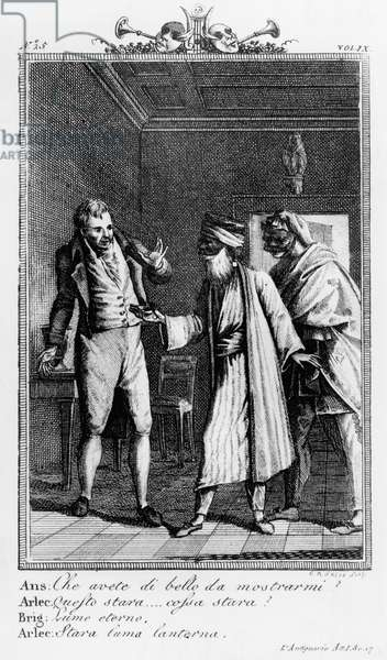 Brighella, together with Arlecchino, tricking Anselmo, illustration for antiquarian's family, comedy by Carlo Goldoni (1707-1793), engraving by Giovanni Antonio Sasso (active early 19th century), from Commedie di Carlo Goldoni