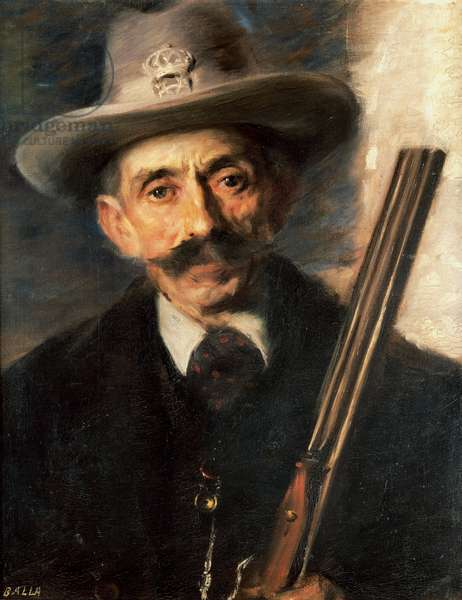 Portrait the artist's uncle, the king's hunter, by Giacomo Balla (1871-1958). Italy, 20th century.