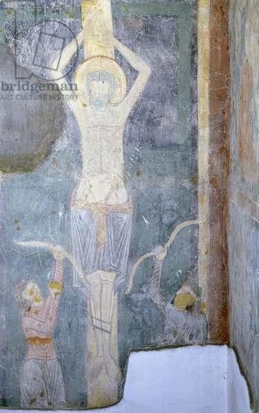 Crucifixion, fresco detail, Chapel of St. Sebastian, St. John Lateran's Archbasilica, Rome, Italy, 12th century