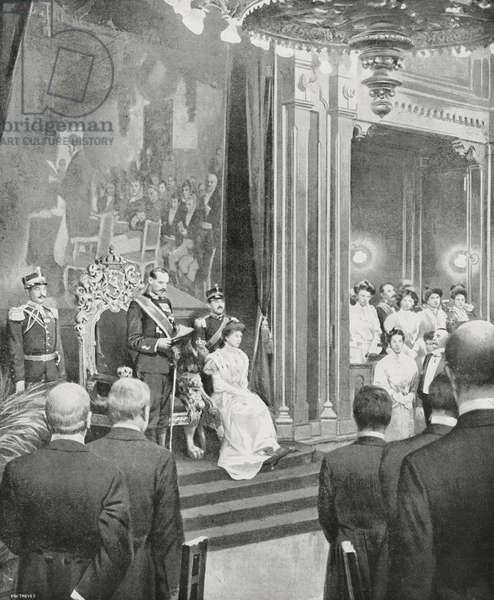 Oath of Haakon VII, King of Norway, Oslo, Norway, drawing by R Griffi from photograph by Hutin, from L'Illustrazione Italiana, Year XXXII, No 50, December 10, 1905