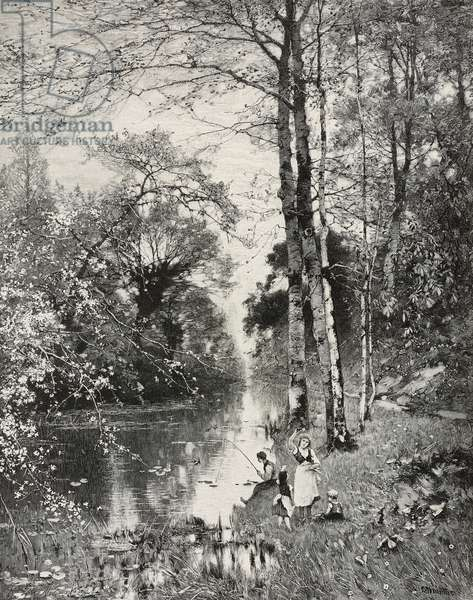 Playing and fishing along forest stream, painting by Ludwig Munthe (1841-1896), woodcut by Richard Bong (1853-1935) from Moderne Kunst (Modern Art)