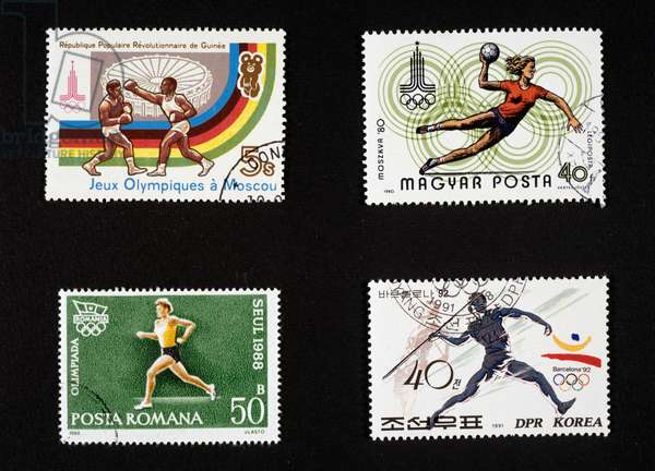 Postage stamps honoring sport with Olimpic Games in Moscow, Barcelona and Seoul Republic of Guinea, Hungary, Romania and North Korea, 20th century