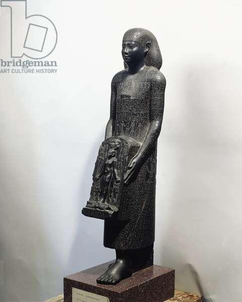 Egyptian civilization, Hellenistic Period. Black basalt magical statue of healer. From Leontopolis (Tell el-Muqdam)