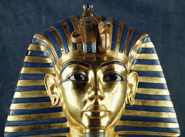 Funerary mask of Tutankhamun, Beaten gold, Ceramic and semi-precious stones, From Pharaoh's tomb, Thebes, Egypt, Detail, Goldsmith art, Egyptian civilization, New Kingdom, Dynasty XVIII