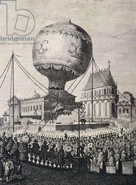 Montgolfier brothers' balloon taking off in Versailles in front of Royal Family, September 19, 1783, France, engraving from Description des experiences de la machine aerostatique de MM de Montgolfier, Barthelemie Faujas de Saint-Fond, 18th century