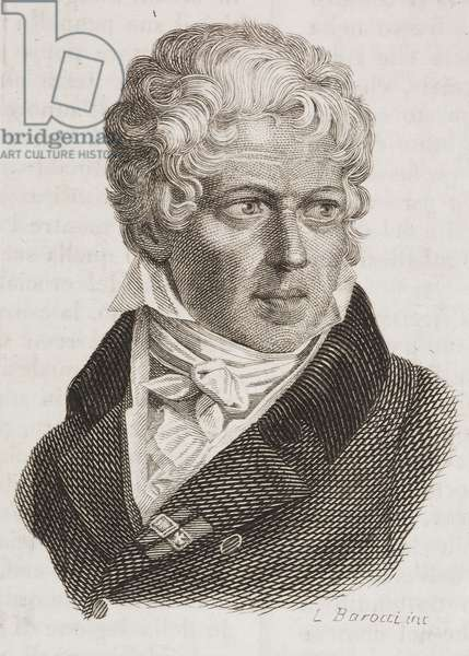 Portrait of Andrea Appiani (1754-1817), Italian painter, engraving from L'album, giornale letterario e di belle arti, Saturday, April 29, 1837, Year 4