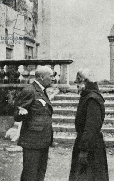 Italian poet Gabriele D'Annunzio with Trappist monk at Maguzzano abbey, Lombardy, Italy, from L'Illustrazione Italiana, Year XLIX, No 41, October 8, 1922