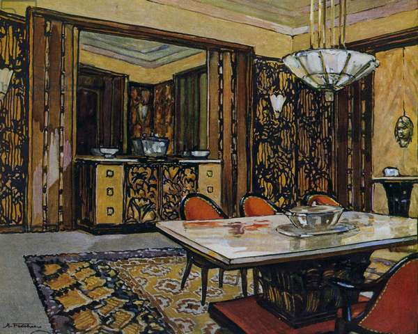 Dining room by Andre Frechet, presented at International Exposition of Decorative Arts in Paris, France in 1925, 20th century