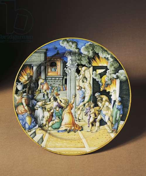 Plate depicting burning of Troy, circa 1550, maiolica, Fontana workshop, Urbino, Marche, Italy, 16th century