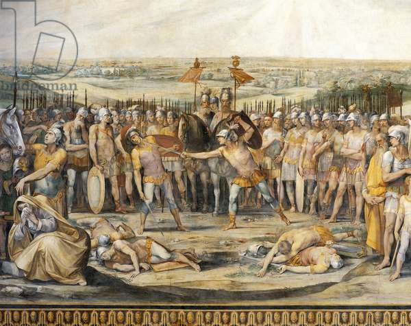 Combat between Horatii and Curiatii, by Giuseppe Cesari (1568-1640), fresco, Hall of Horatii and Curiatii, Conservatories Palace, Rome, Roman Kingdom, Italy