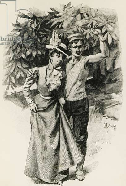 Illustration for Country excursion, by Guy de Maupassant (1850-1893)