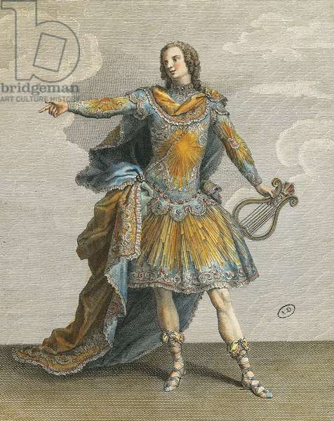 Louis XV in role of Apollo in Phaeton, engraving by Martin, France, 18th century