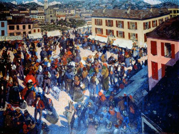 When the bells ring. The fair, Rurasl Trilogy triptych, 1910-1912, by Leonardo Dudreville (1885-1975), oil on canvas, 85x110 cm. Italy, 20th century.
